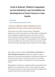Frost & Sullivan: Platform Integration across Industries Lays Foundation for Development of Smart Homes in Asia-Pacific
