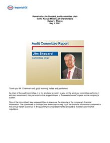 Remarks by Jim Shepard, audit committee chair, to the annual meeting  of shareholders, May 1, 2007