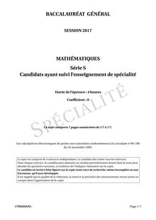BAC S 2017 WASHINGTON SUJET MATHS SPECIALITE