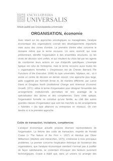 Définition de : ORGANISATION, économie - Claude MÉNARD