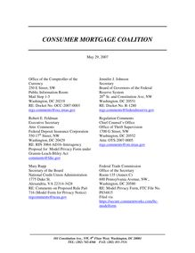 Public Comment, Model Privacy Form, Consumer Mortgage Coalition