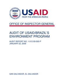 Audit of USAID Brazil's Environment Program