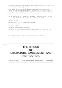 The Mirror of Literature, Amusement, and Instruction - Volume 13, No. 358, February 28, 1829
