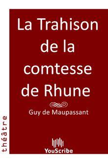 La Trahison de la comtesse de Rhune de Guy de Maupassant - fiche descriptive