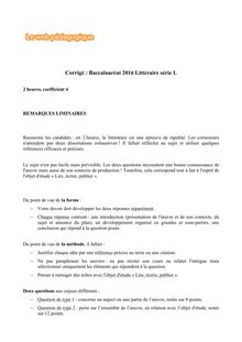 Baccalauréat Littérature 2016 - Série L