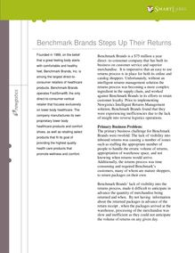 Benchmark Brands Steps Up Their Returns