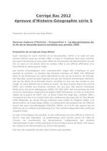 Bac 2012 S Histoire Geographie Corrige Histoire