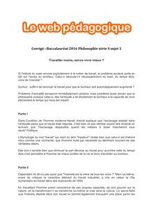 Baccalauréat Philosophie 2016 - Série S - Sujet 1