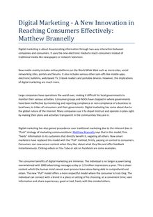 Digital Marketing - A New Innovation in Reaching Consumers Effectively: Matthew Brannelly