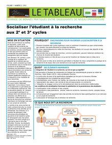 Socialiser l'étudiant à la recherche aux 2e et 3e cycle