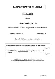 Bac 2013 ST2S Histoire Geo
