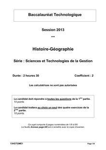 Bac 2013 STG Histoire Géographie