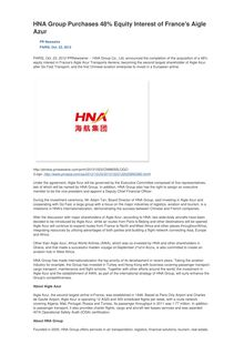 HNA Group Purchases 48% Equity Interest of France