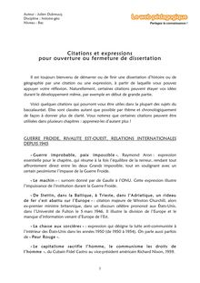 Bac – Histoire-Géo – Citations et expressions pour ouverture et fermeture de dissertation