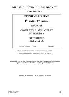 Sujet du brevet de Pondichéry 2017 français