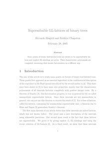 Supersolvable LL lattices of binary trees