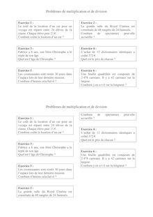 Problème de multiplication et de division