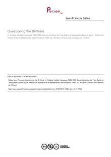 Questioning the BI-Ware - article ; n°1 ; vol.18, pg 303-334