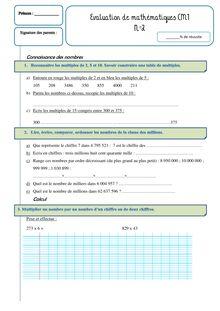 Evaluation de mathématiques CM1