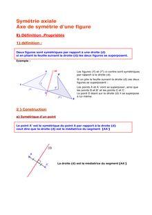 Cours de 6e sur la symétrie axiale