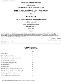 Traditions of the Hopi: Title Page
