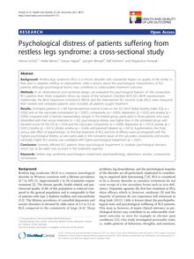Psychological distress of patients suffering from restless legs syndrome: a cross-sectional study