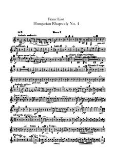 Partition cor 1, 2 (D), 3, 4 (F), Hungarian Rhapsody No.12, C♯ minor