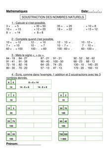 Soustraction des nombres naturels 5 : divers