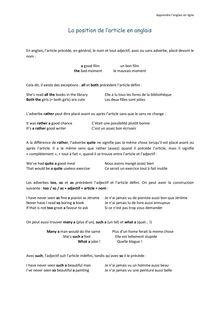 La position de l'article - Apprendre l'anglais en ligne