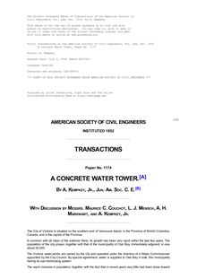 Transactions of the American Society of Civil Engineers, Vol. LXX, Dec. 1910 - A Concrete Water Tower, Paper No. 1173
