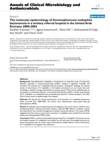 The molecular epidemiology of Stenotrophomonas maltophiliabacteraemia in a tertiary referral hospital in the United Arab Emirates 2000–2004
