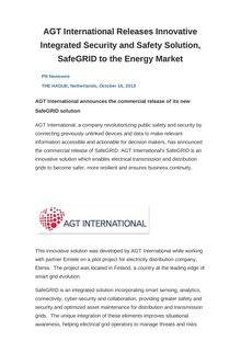AGT International Releases Innovative Integrated Security and Safety Solution, SafeGRID to the Energy Market