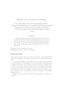 Introduction to Lawson homology