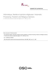 Informatique, libertés et opinions religieuses / Automatic Processing, Freedom and Religious Opinions - article ; n°1 ; vol.91, pg 21-39