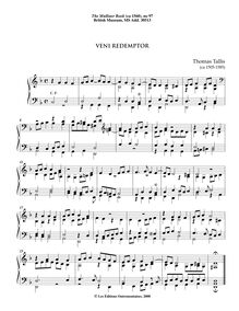 Partition 9, Veni Redemptor, pour Mulliner Book, Keyboard: organ or harpsichord