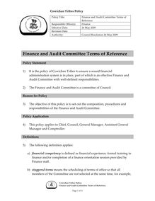 CT Policy - Finance and Audit Committee Terms of  Reference -