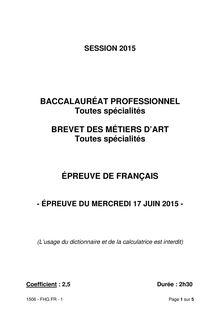 Bac 2015 - Français - Bac Pro