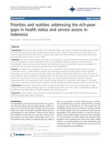 Priorities and realities: addressing the rich-poor gaps in health status and service access in Indonesia