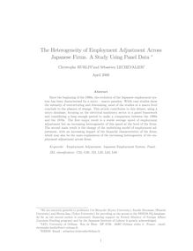 The Heterogeneity of Employment Adjustment Across Japanese Firms A Study Using Panel Data
