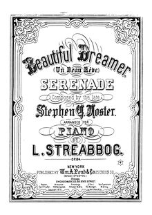 Partition complète, Beautiful Dreamer, Beautiful Dreamer Arranged With Brilliant Variations By A. Baumbach par Stephen Foster