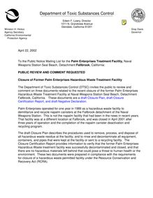 Notice of 45 Day Public Comment Period - Closure of Palm Enterprises  Treatment Facility at Detachment