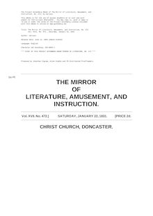 The Mirror of Literature, Amusement, and Instruction - Volume 17, No. 472, January 22, 1831