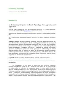 An evolutionary perspective on health psychology: New approaches and applications