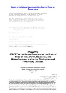 Report of the Railway Department of the Board of Trade on the - London, Worcester, and Wolverhampton, and on the Birmingham and - Shrewsbury Districts