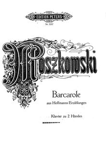 Partition complète, Barcarolle from Tales of Hoffman, Moszkowski, Moritz