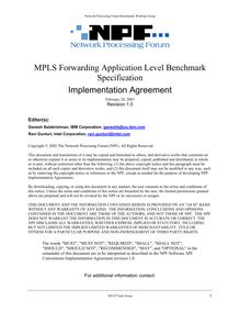 MPLS Forwarding Application Level Benchmark Specification ...