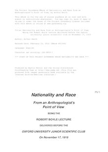 Nationality and Race from an Anthropologist