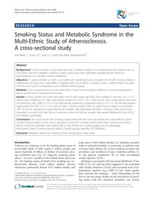 Smoking Status and Metabolic Syndrome in the Multi-Ethnic Study of Atherosclerosis. A cross-sectional study