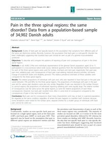 Pain in the three spinal regions: the same disorder? Data from a population-based sample of 34,902 Danish adults