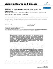 Amaranth oil application for coronary heart disease and hypertension